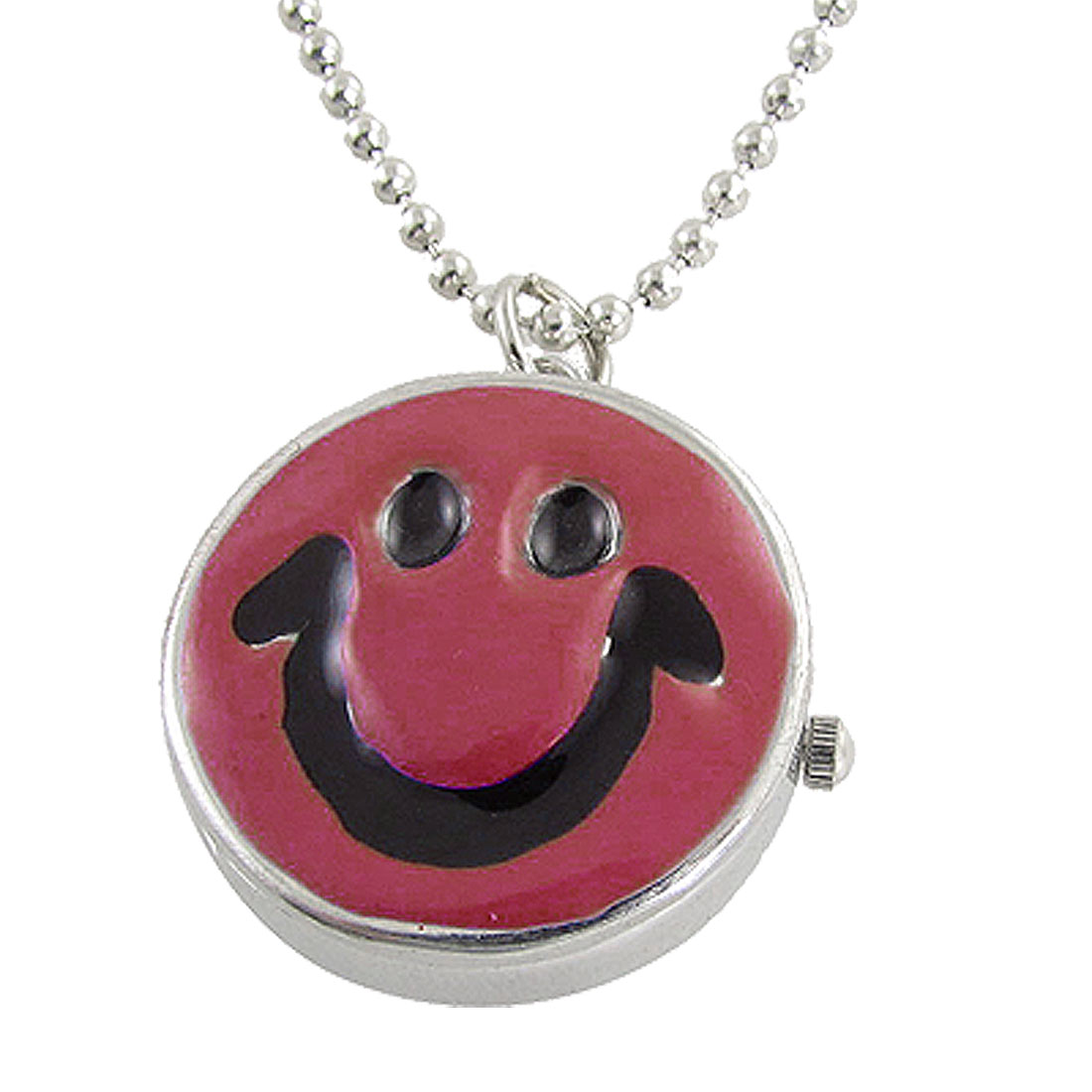 Ladies Silver Tone Chain Red Black Smiling Face Necklace Watch