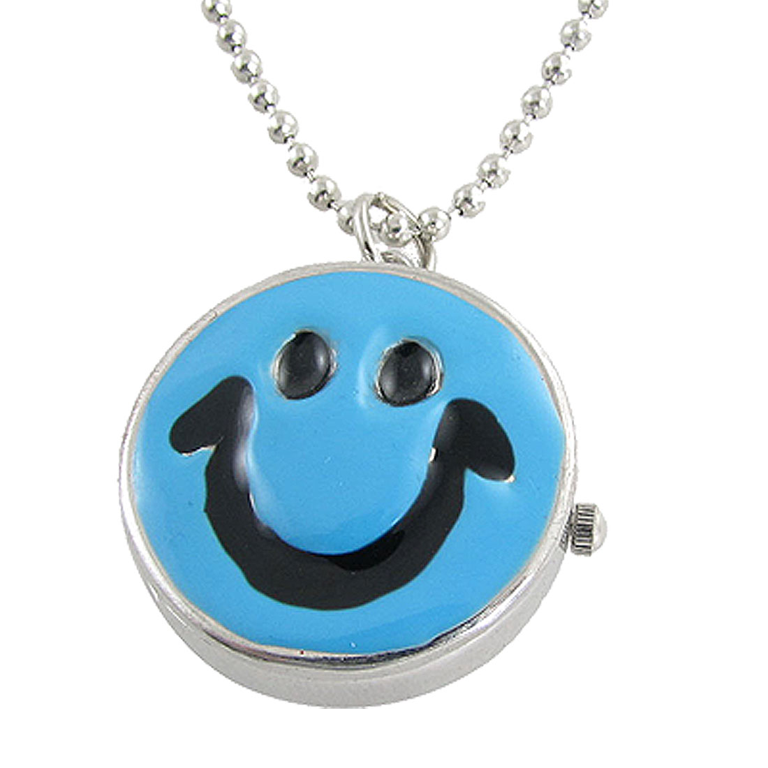 Blue Black Smile Face Pendant Necklace Watch for Lady