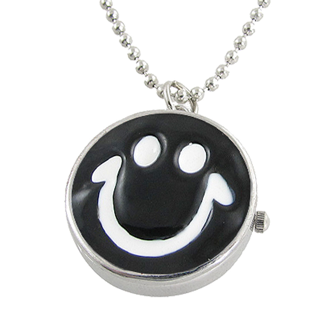 Ladies Black White Smile Face Shape Pendant Necklace Watch