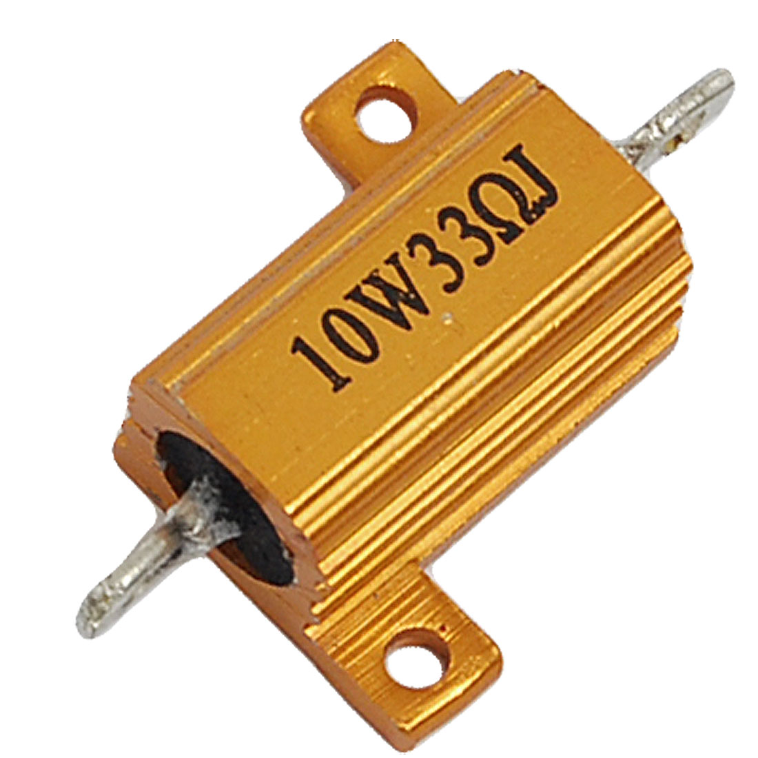 10W 5% 33 Ohm Gold Tone Aluminum Shell Screw Tabs Mounted Resistor
