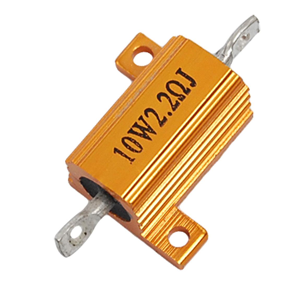 10W 2.2 Ohm 5% Aluminum Wire Wound Resistor Gold Tone