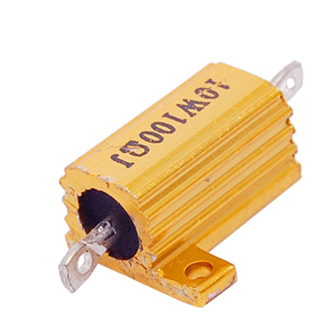 Gold Tone 10W 100Ohm 5% Aluminum Wirewound Resistor New