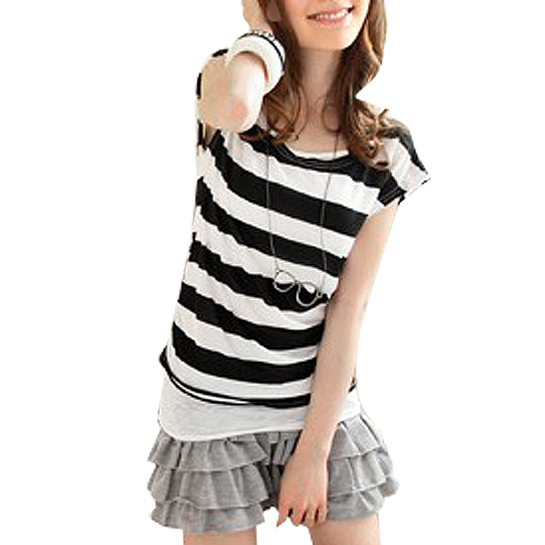 Ladies Scoop Neck Striped Short Sleeve Shirt w Halter Camisole