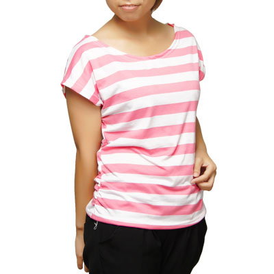 Ladies Short Batwing Sleeve Striped Shirt White Pink XS