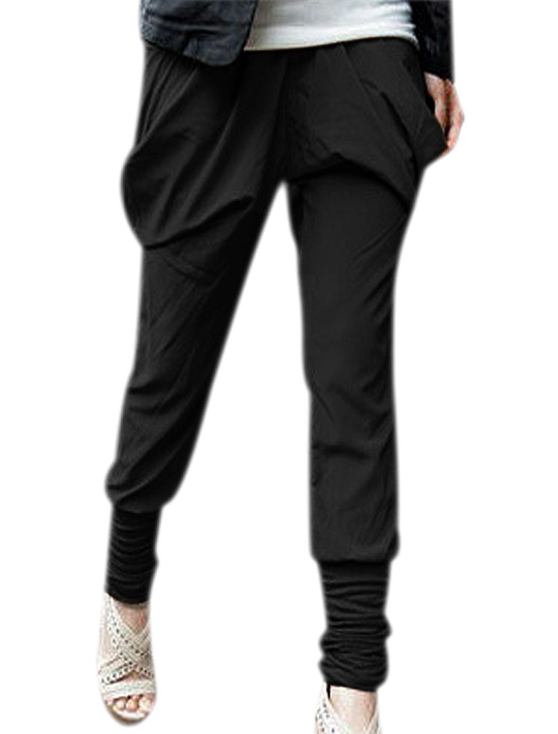 Ladies Two Pockets Elastic Waist Harem Pants Trousers Black XS
