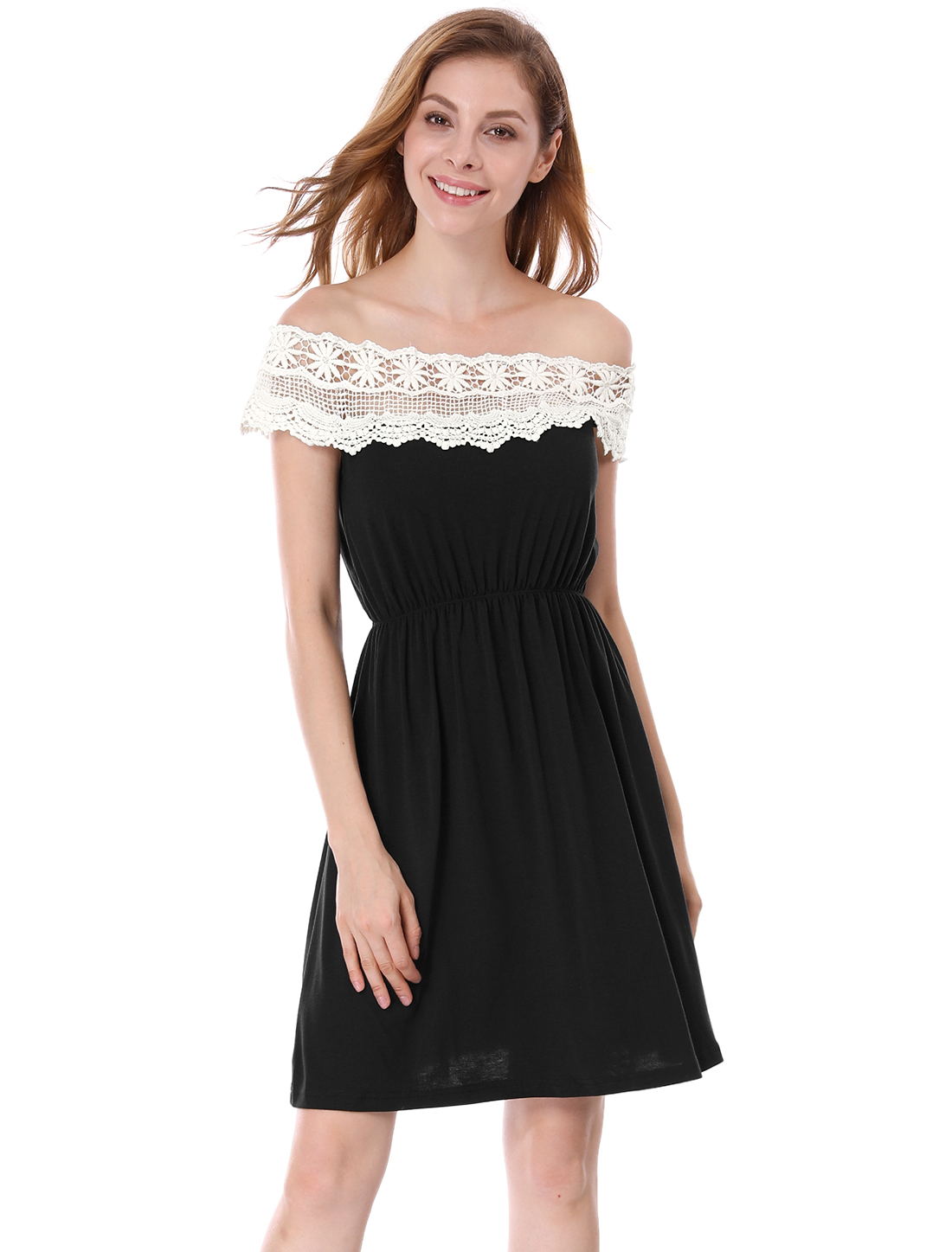 White Crotcheted Lace Boat Neck Black Sleeveless Mini Dress for Lady XS