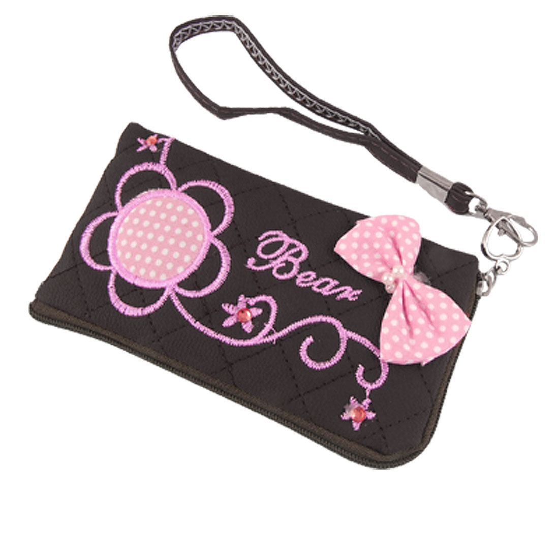 L Shape Zipper Pink Flower Faux Leather Phone Bag Pouch w Hand Strap
