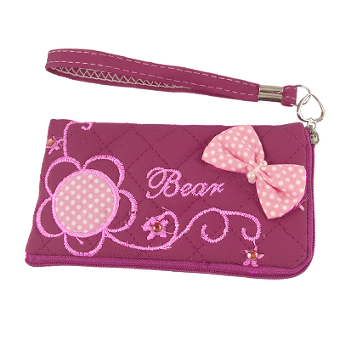Embroidered Faux Leather L Shape Zipper Pouch Fuchsia for Phone
