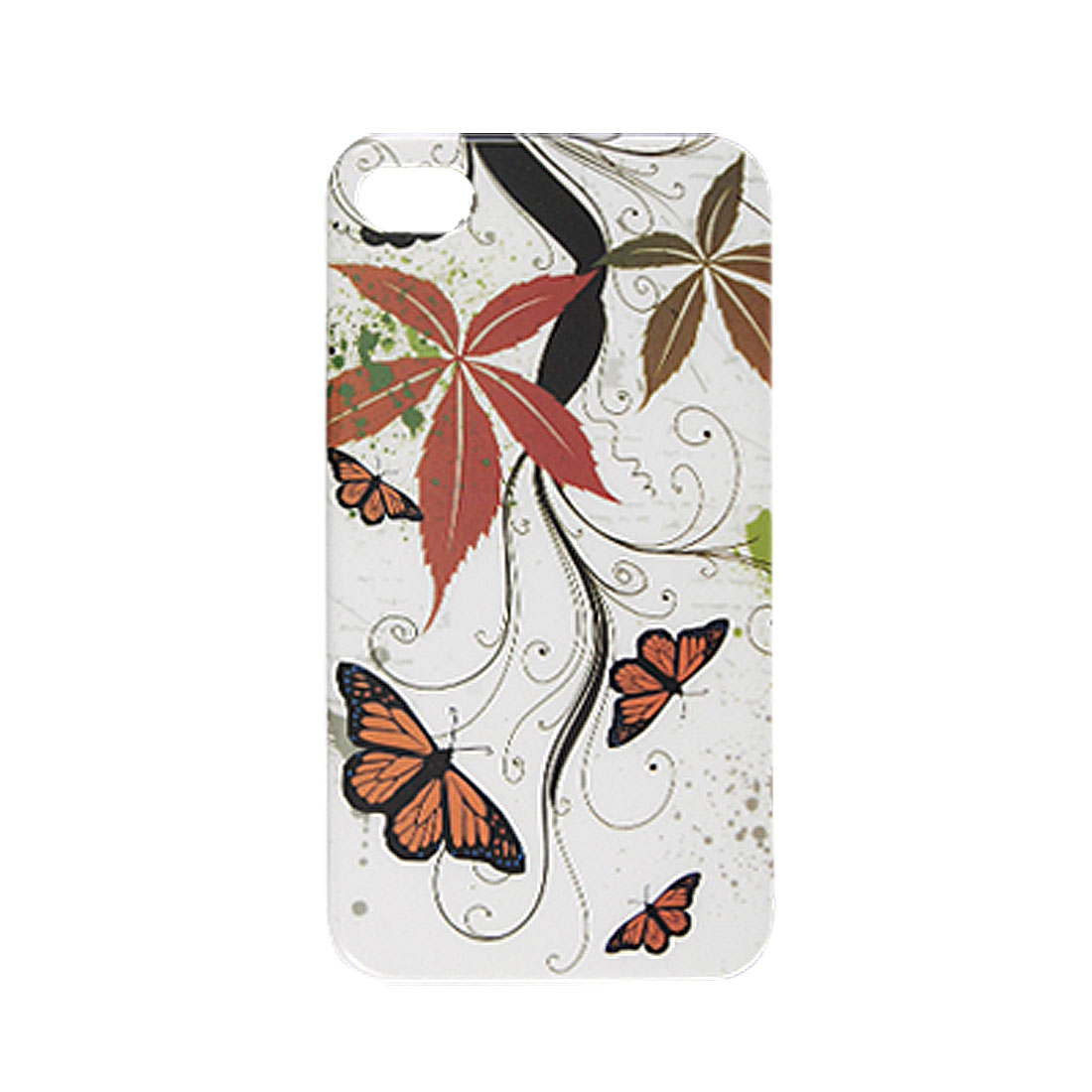 Plastic Butterfly Leaf Pattern IMD Back Case for iPhone 4G