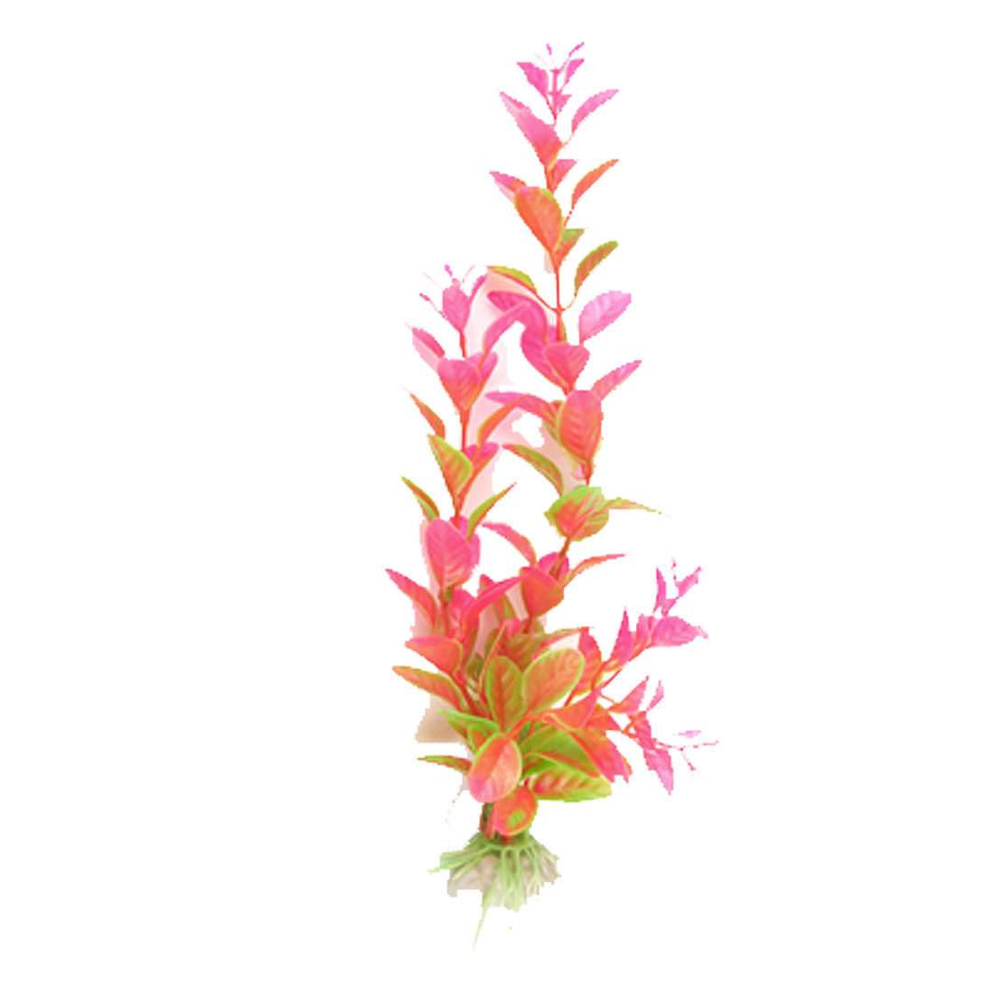 Decorative Amaranth Pink Green Plastic Plant w Base for Aquarium