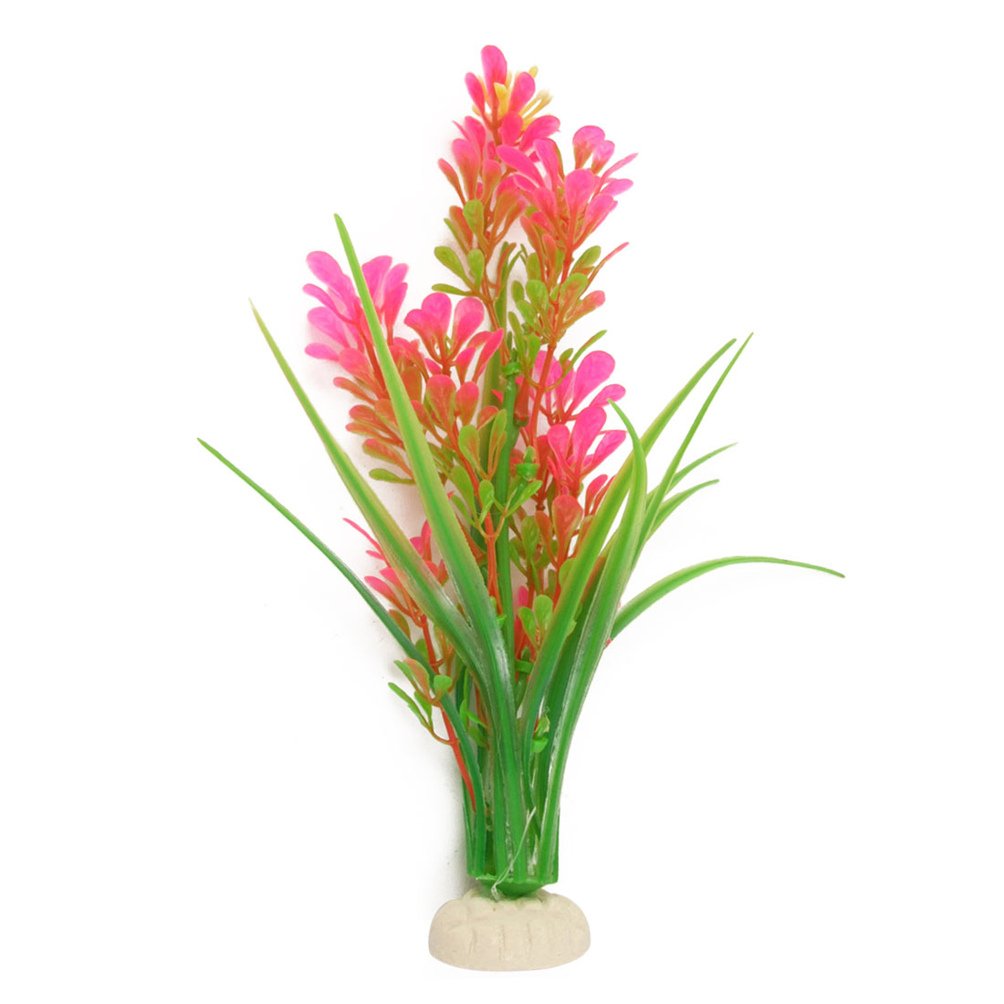 Aquarium Soft Plastic Green Amaranth Pink Plant Decor w Base