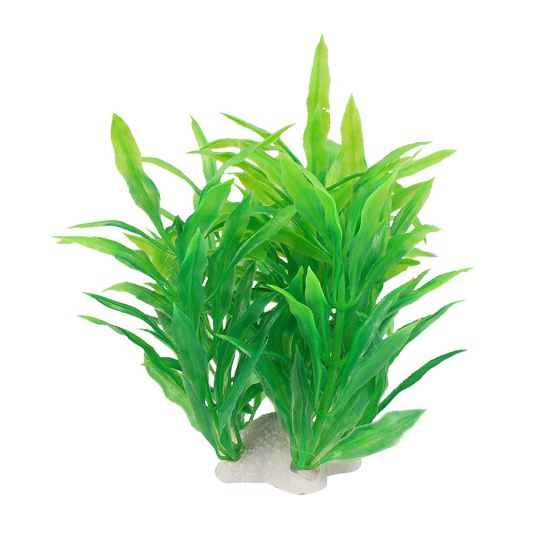 Fish Aquairum Green Plastic Plant Decor w Ceramic Base