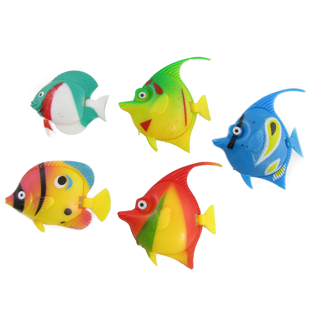 5 Pcs Plastic Floating Tropical Fishes Ornament for Aquarium