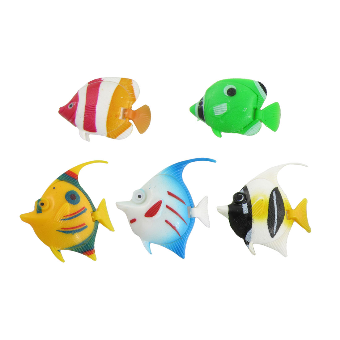 Aquarium Ornament 5 Pcs Colorful Plastic Tropical Fish Cjiak