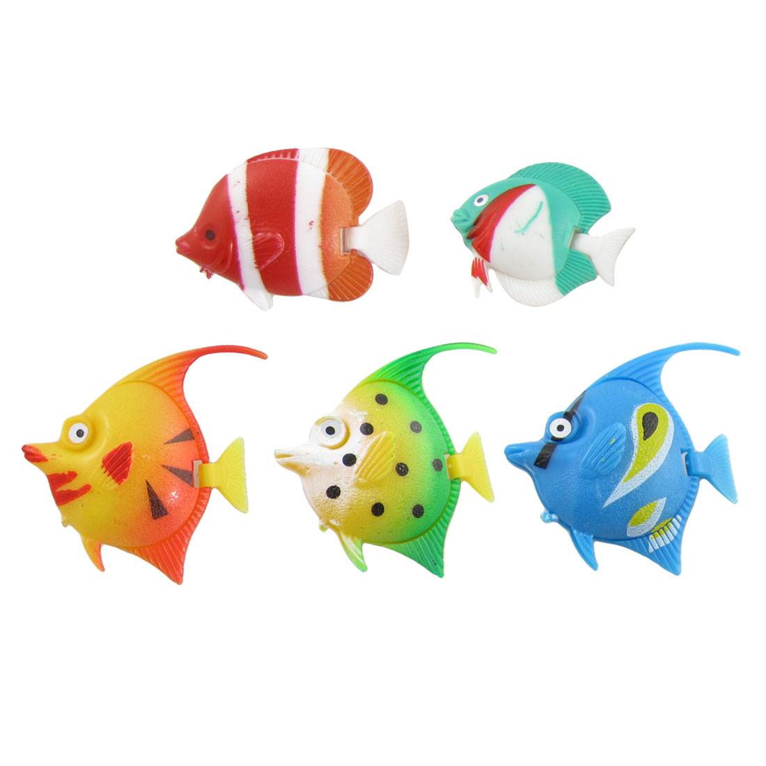 Multi-colored Plastic Swimming Fish Decor 5 Pcs for Aquarium