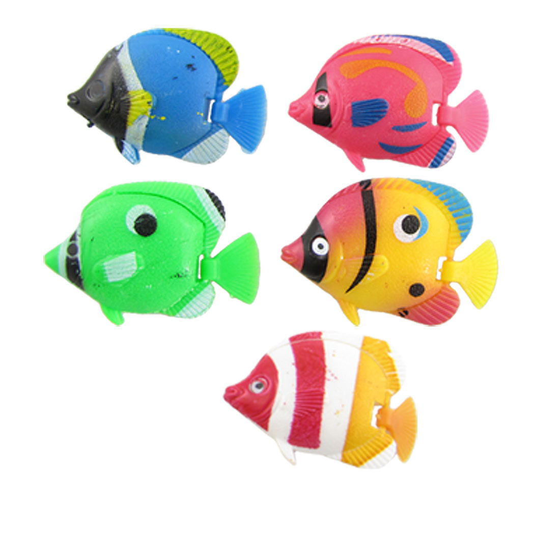 5 Pcs Assorted Color Plastic Fish for Aquarium Decoration