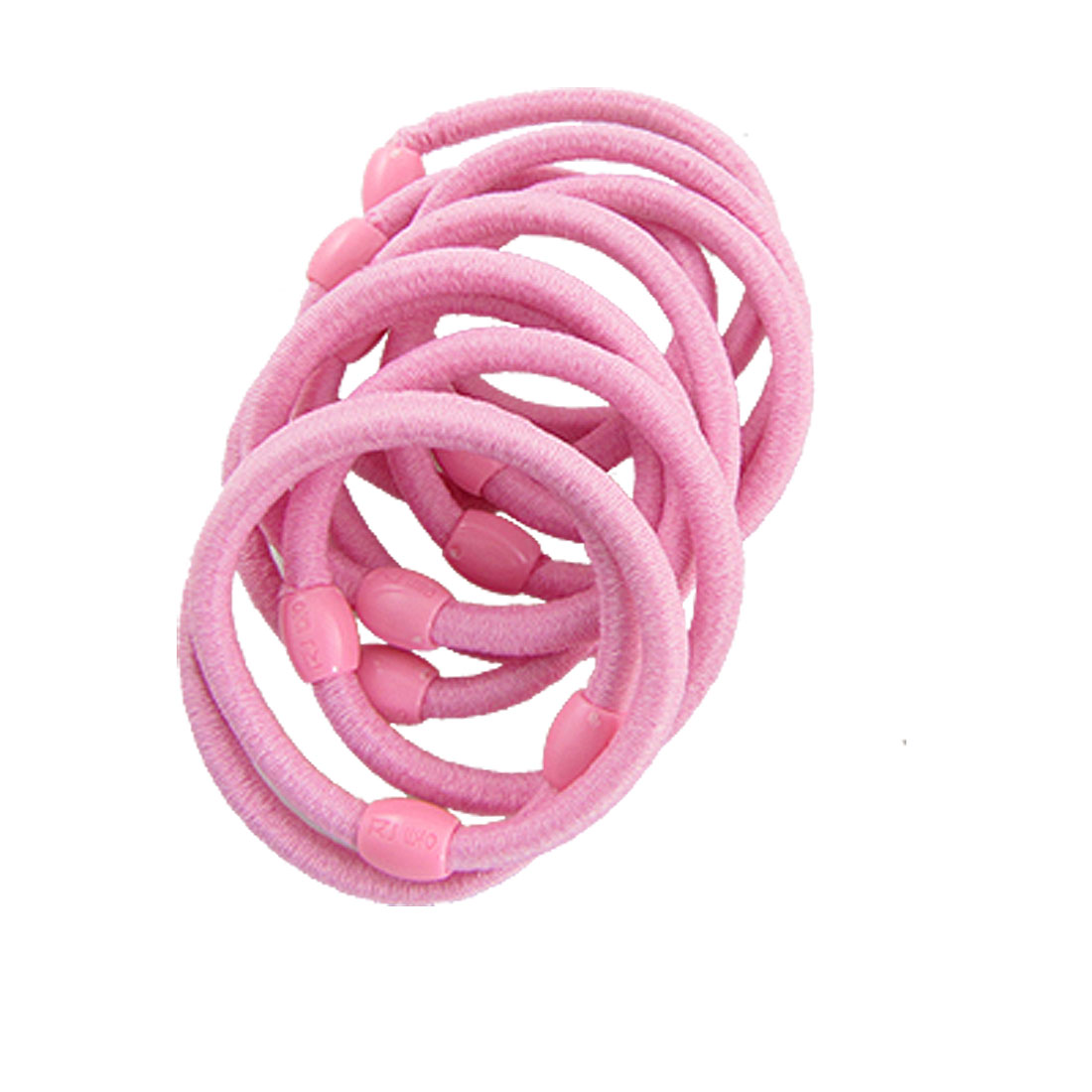 10 Pcs Pink Rubber Stretchy Oval Beads Hair Tie Ponytail Holders