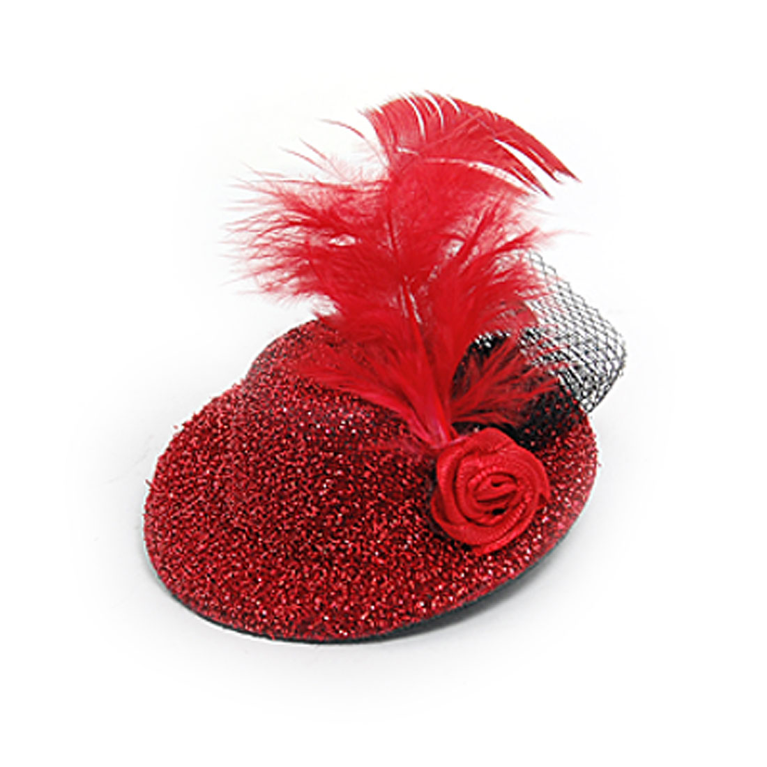 Flower Accent Red Glittery Flannel Mini Top Hat w Alligator Hairclip