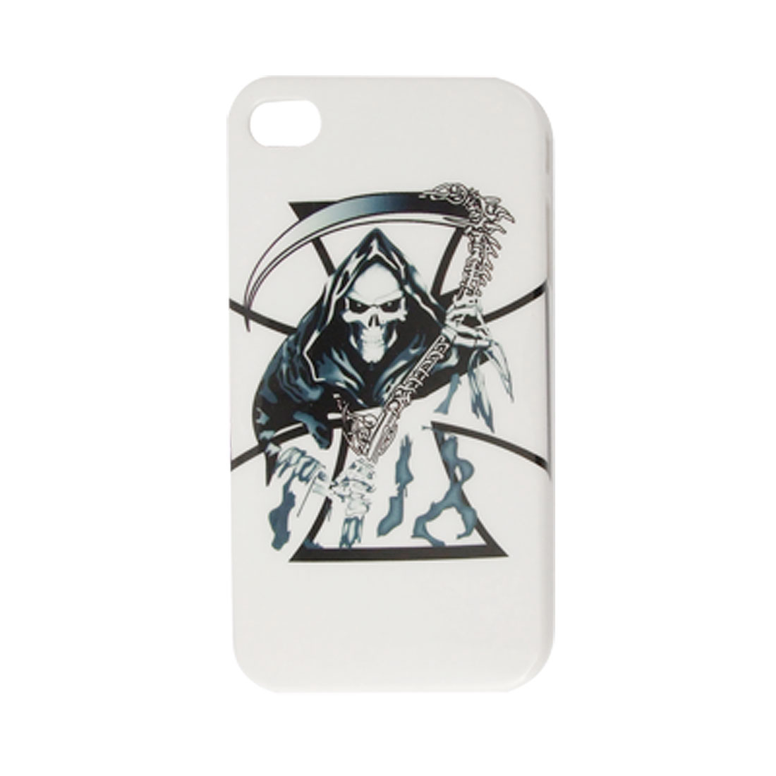 IMD Skull Print Hard Plastic White Black Back Case for iPhone 4 4G