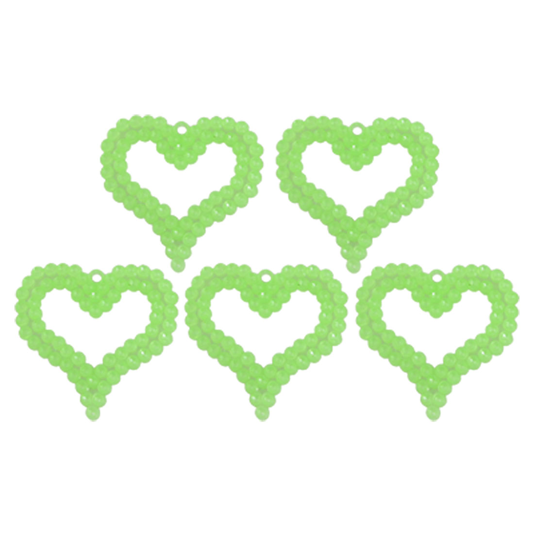 Double Layer Heart Green Plastic 10 Pcs Fluorescent Decor