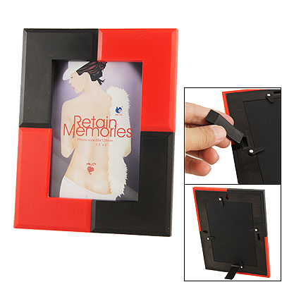 Black Red Plastic Picture Photo Desk Wall Hanging Frame
