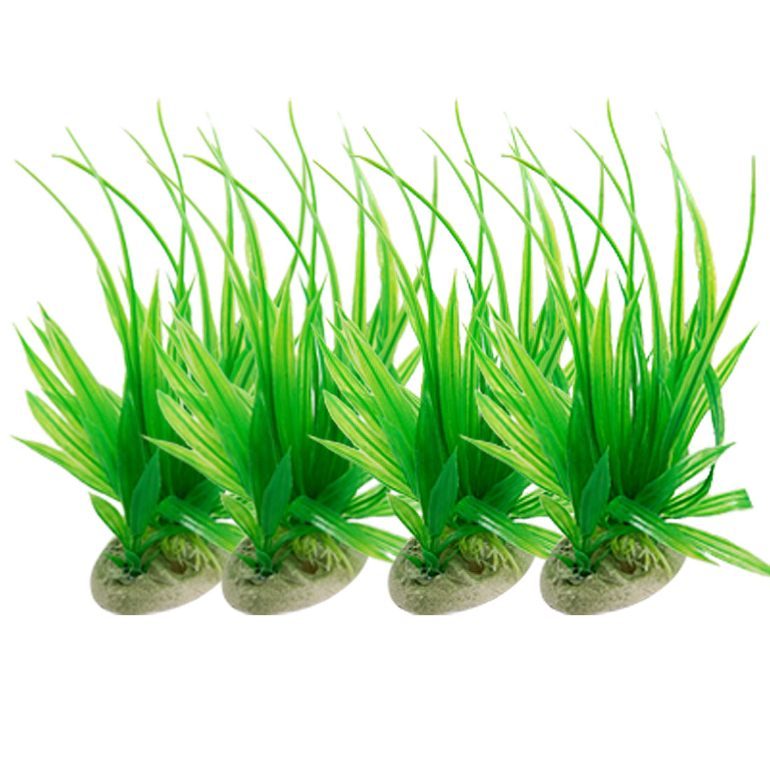 4 Pcs Aquarium Landscaping Long Leaf Green Plastic Plants w Base