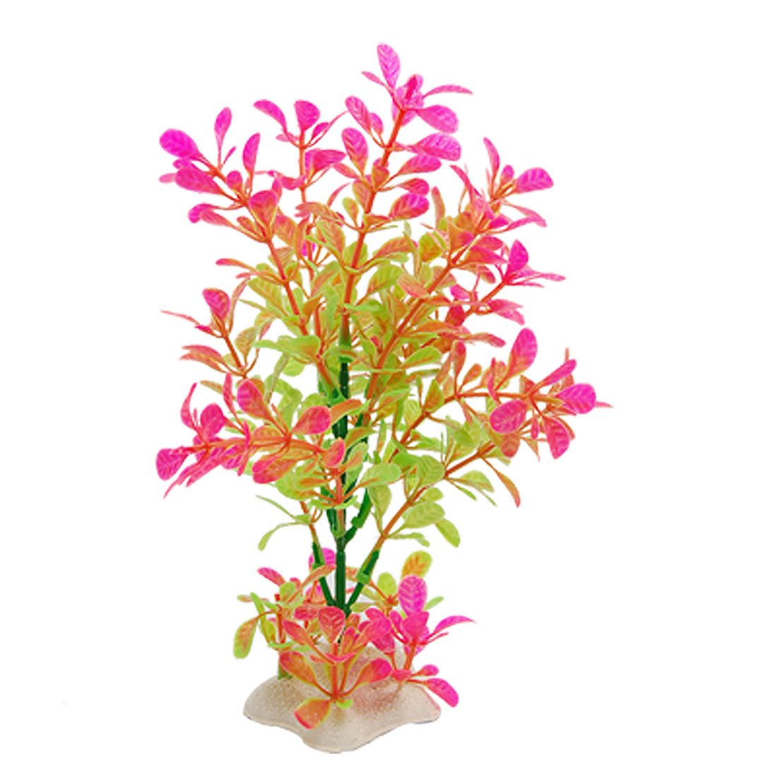"Fish Tank 7.5"" Height Hot Pink Green Plastic Grass Plants Ornament"