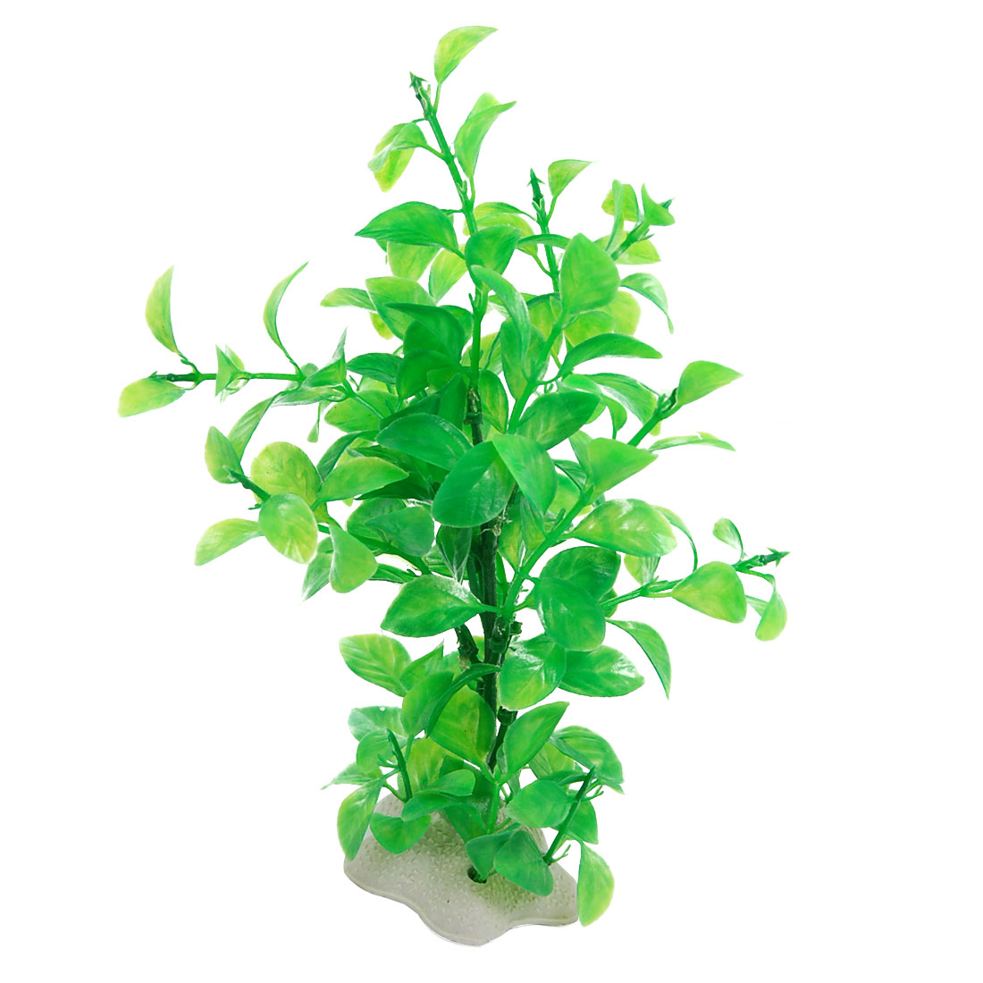 "7.8"" Height Green Plastic Elliptic Leaf Plant Decor for Aquarium"