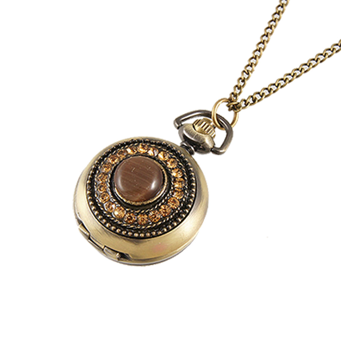 Ladies Bronze Tone Rhinestone Round Case Necklace Pocket Watch