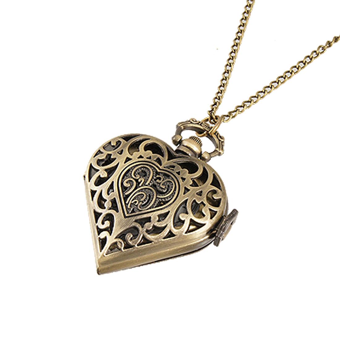 Ladies Flower Hunter Case Heart Necklace Pocket Watch Bronze Tone