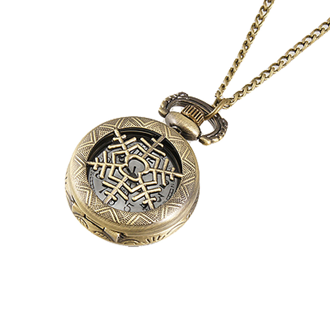 Ladies Bronze Tone Cut-out Snowflake Hunter Case Necklace Pocket Watch