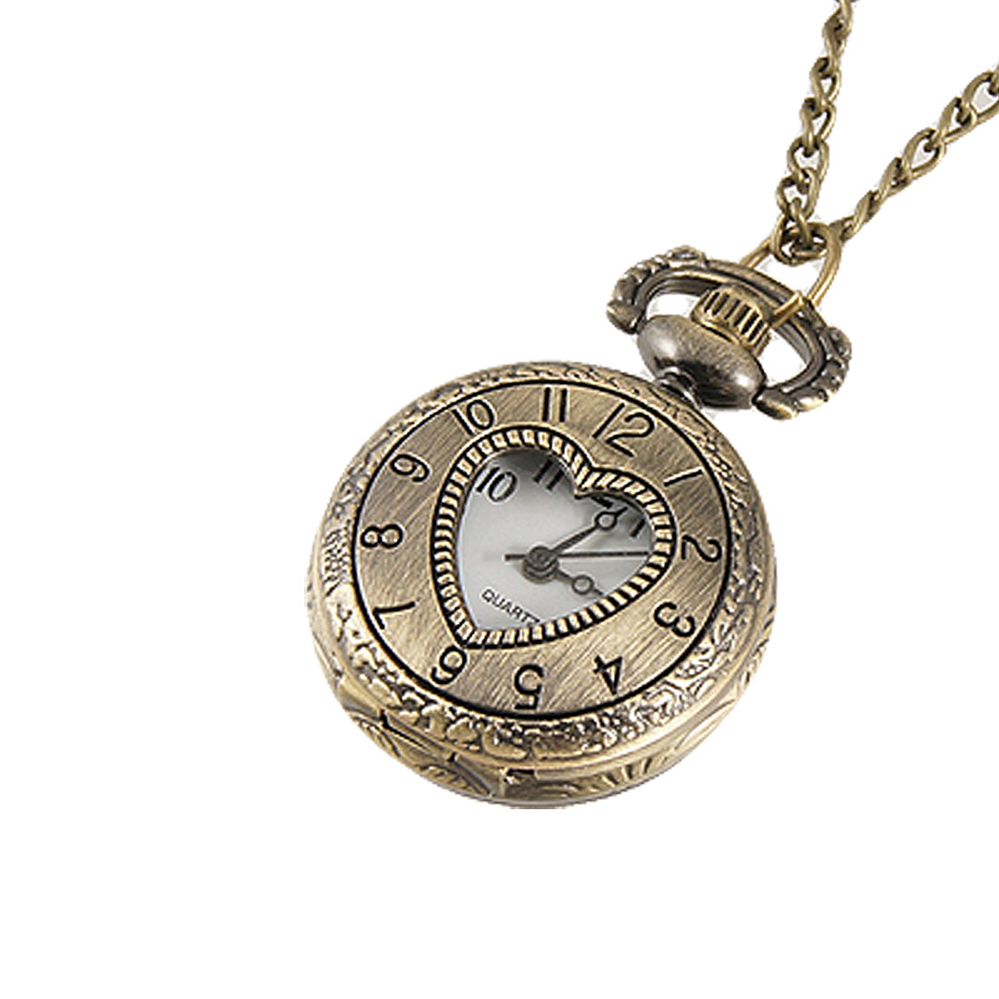 Ladies Cut Out Heart Hunter Case Necklace Pocket Watch Bronze Tone