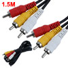 VCR TV M/M Male to Male 3 RCA Audio Video AV Cable 1.5M