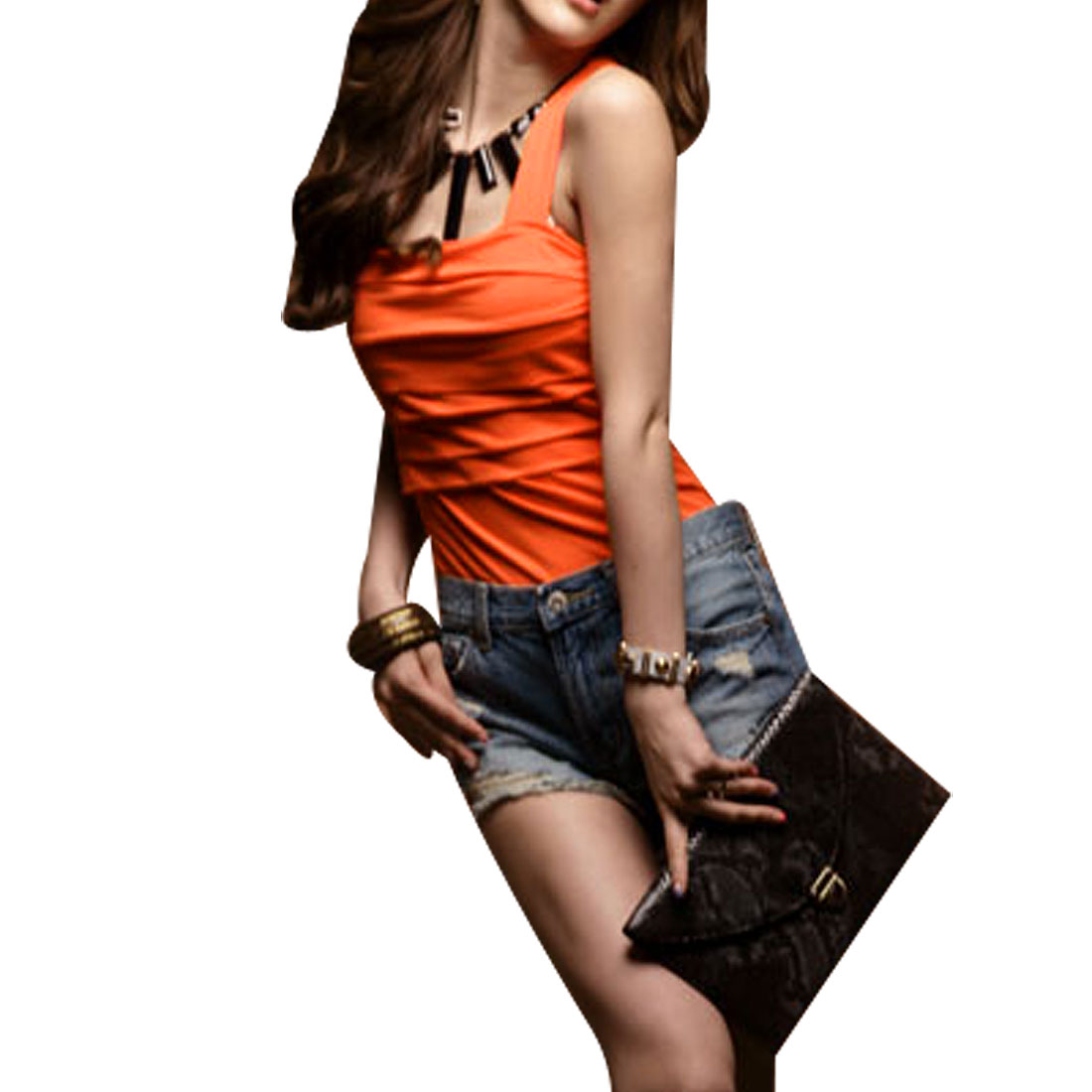 625 Orange Red Y Shape Strap Stretchy Tank Top for Ladies
