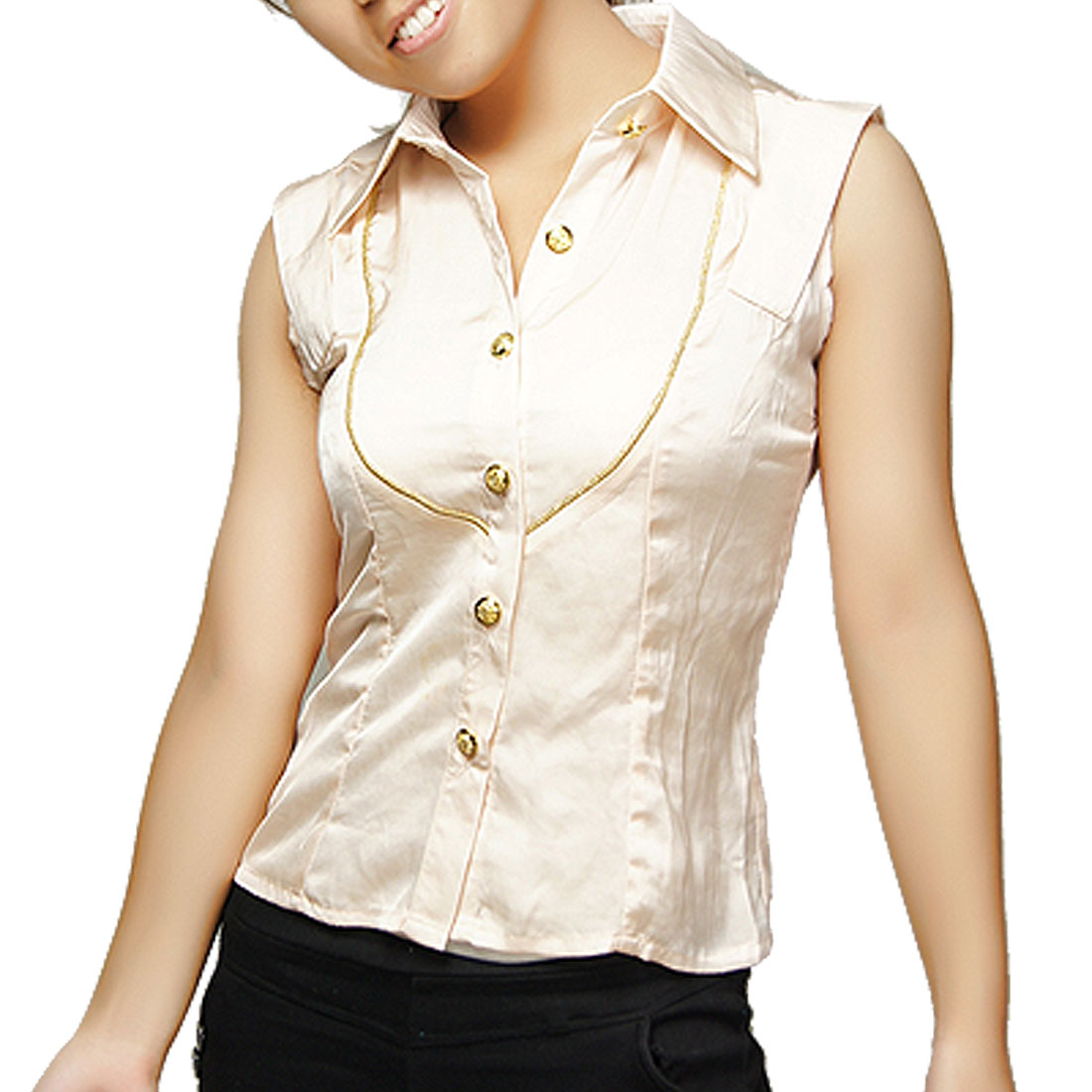 Lady Point Collar Button Closure Beige Sleeveless Blouse XS