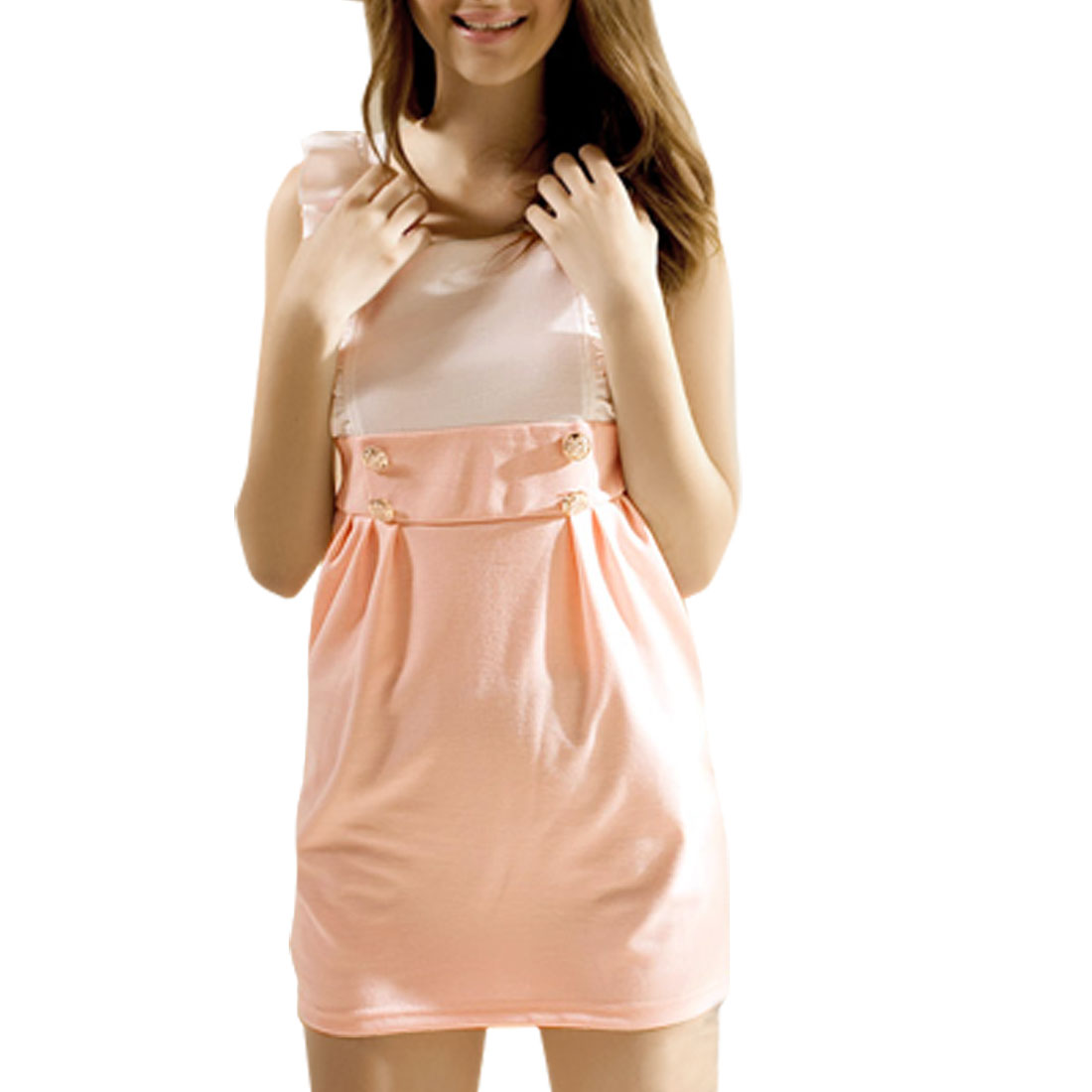 Lady Scoop Neck Sleeveless Back Zipper White Pink Dress XS