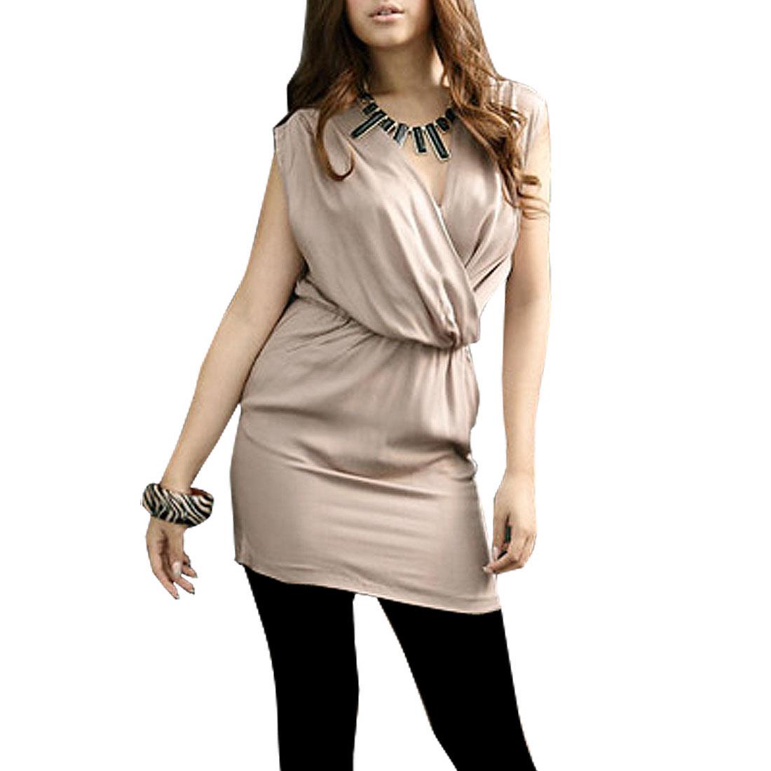 Ladies Crossover V Neck Sleeveless Above Knee Mini Dress Khaki XS