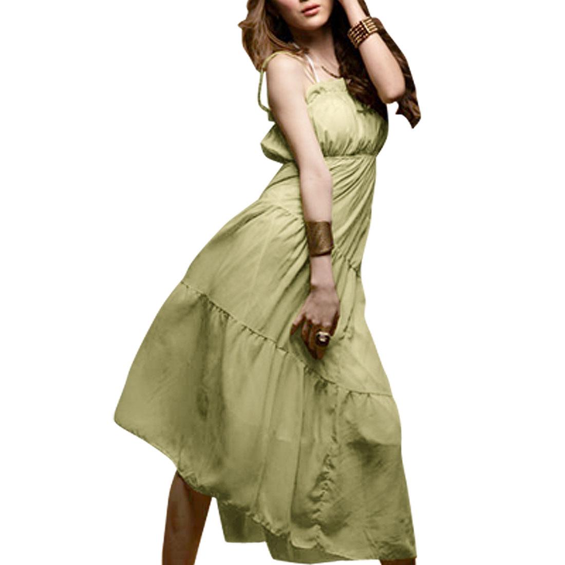 Adjustable Spaghetti Strap Chiffon Ruffles Bust Maxi Dress for Lady S