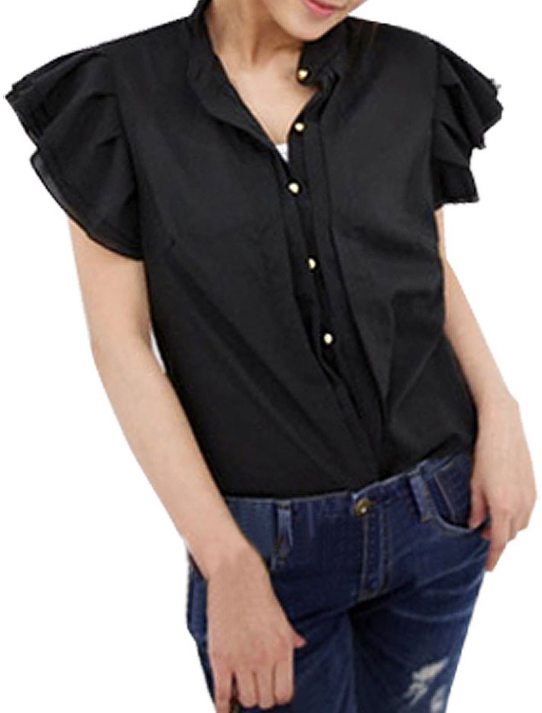Ladies Stand Collar Ruffled Short Sleeves Chiffon Blouse
