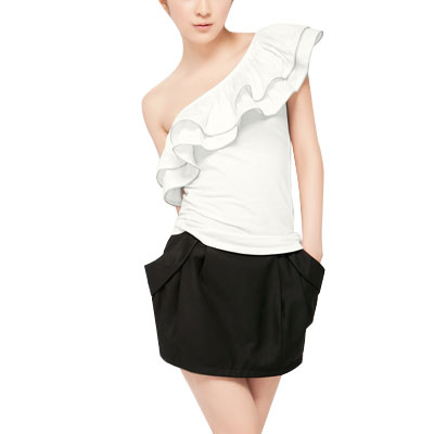 Ladies Metal Zip Decor Frills Layers One Shoulder Shirt Top