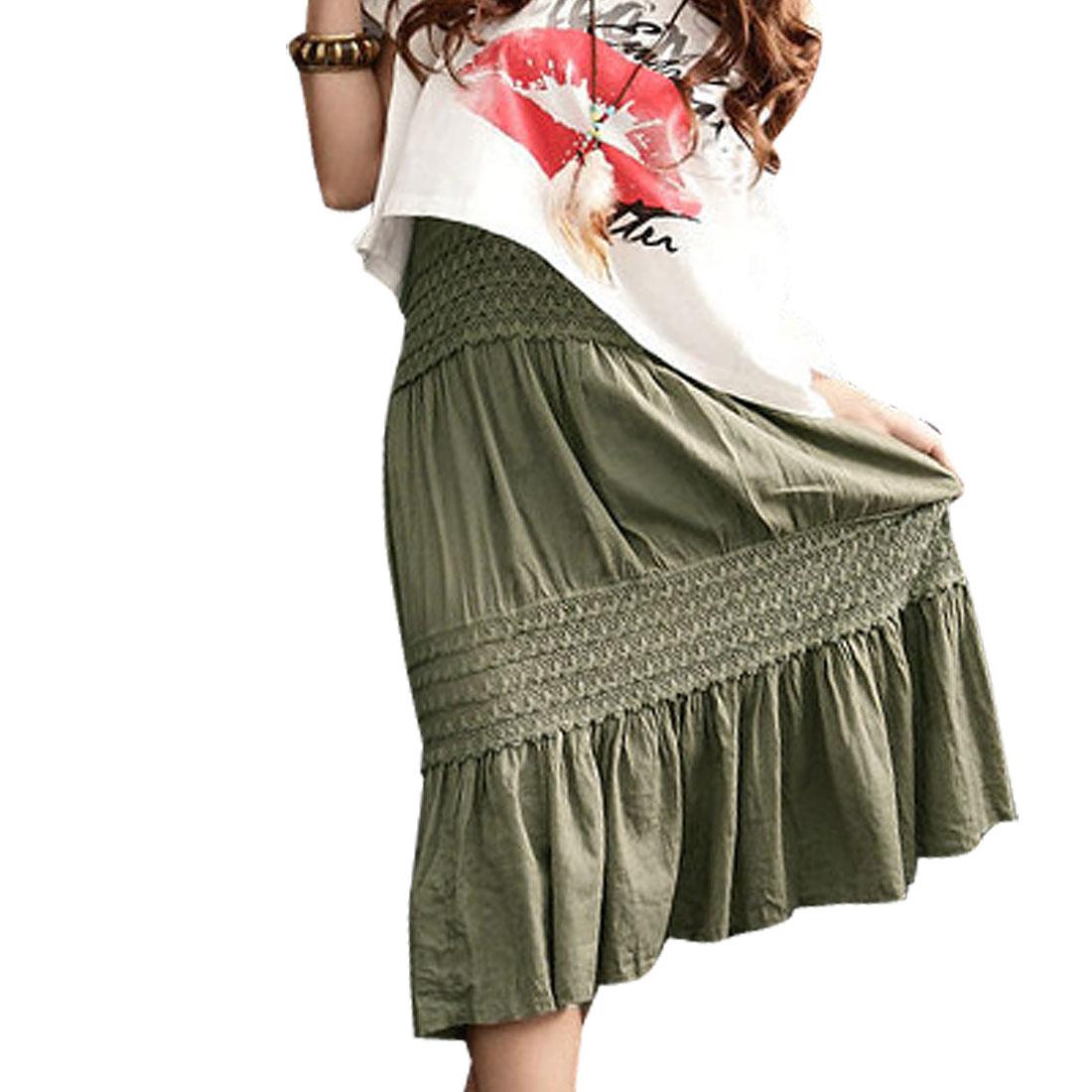 Ladies Olive Green Lining Mid Calf Elastic Waist Skirt XS