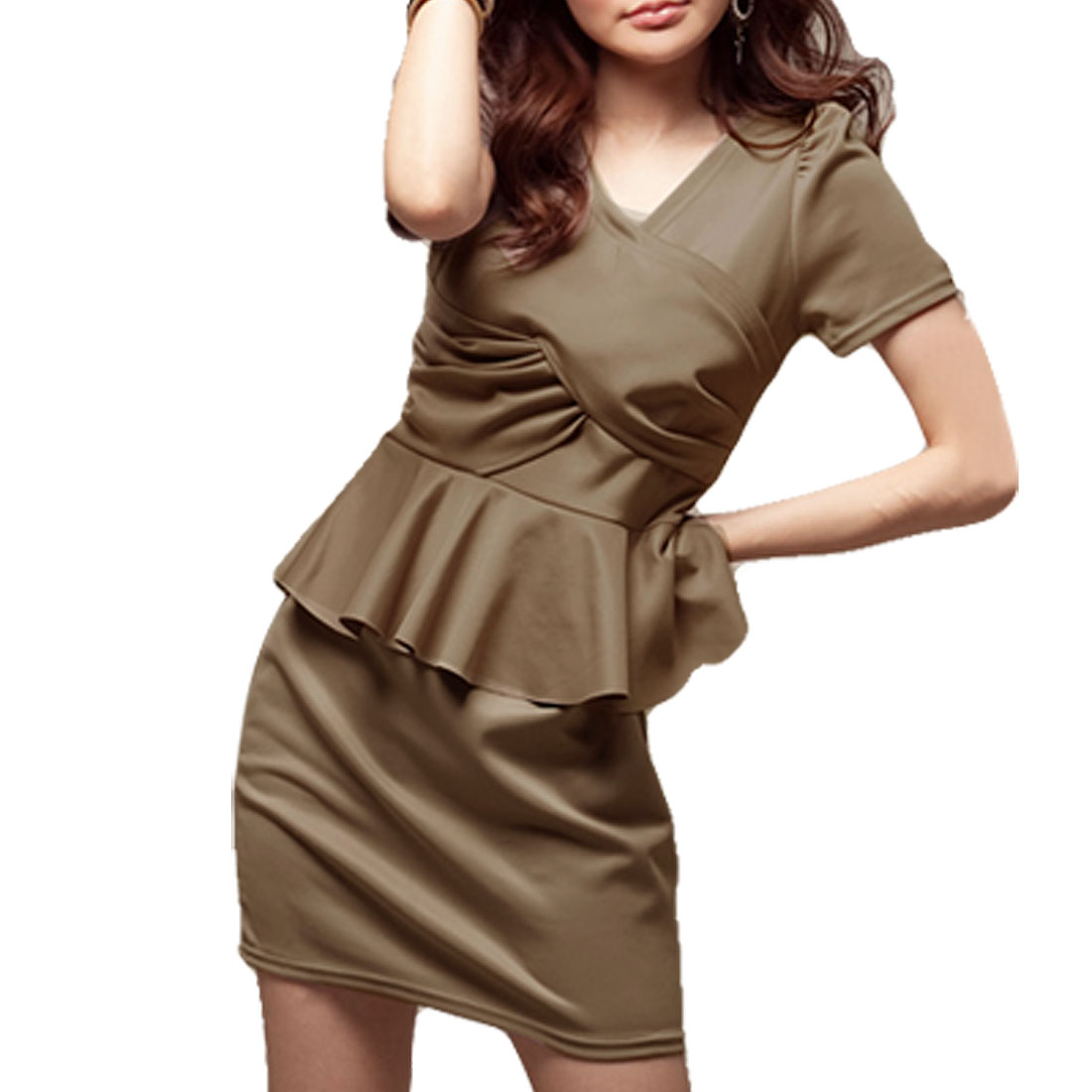 Lady Dark Khaki Short Sleeve Layared Dresses Style Dress XS