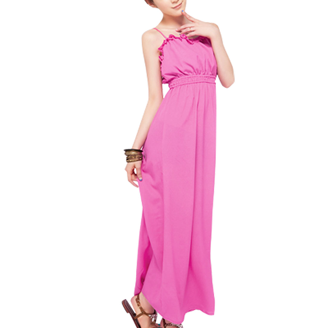 Pink Ruffled Elastic Back Adjustable Strap Dress XS for Lady