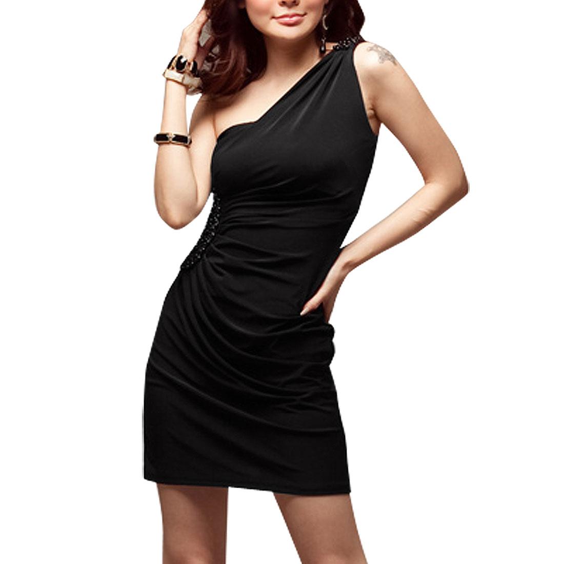 Black Beads Embellished One Shoulder Ruched Side Mini Dress for Lady S