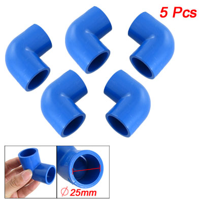 5 Pcs 25mm 90 Degree Blue PVC-U Pipe Elbow Connectors Adapters