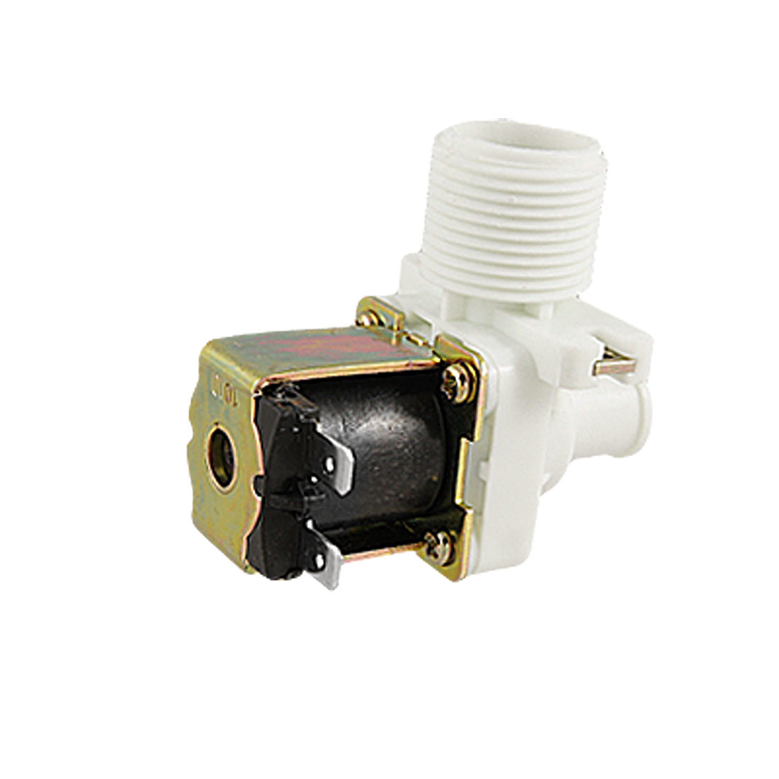 AC 220V 26mm Thread 90 Degree Water Inlet Solenoid Valve Black White