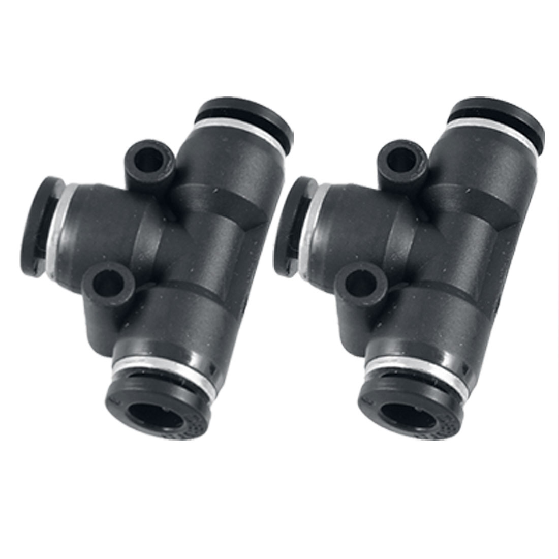 Black Plastic 6mm to 6mm Push In Quick Fittings T Connector 2 Pcs