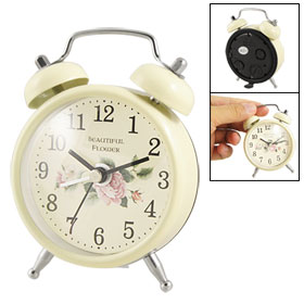 Peony Print Dial Arabic Numbers Off White Metal Twin Bell Alarm Clock