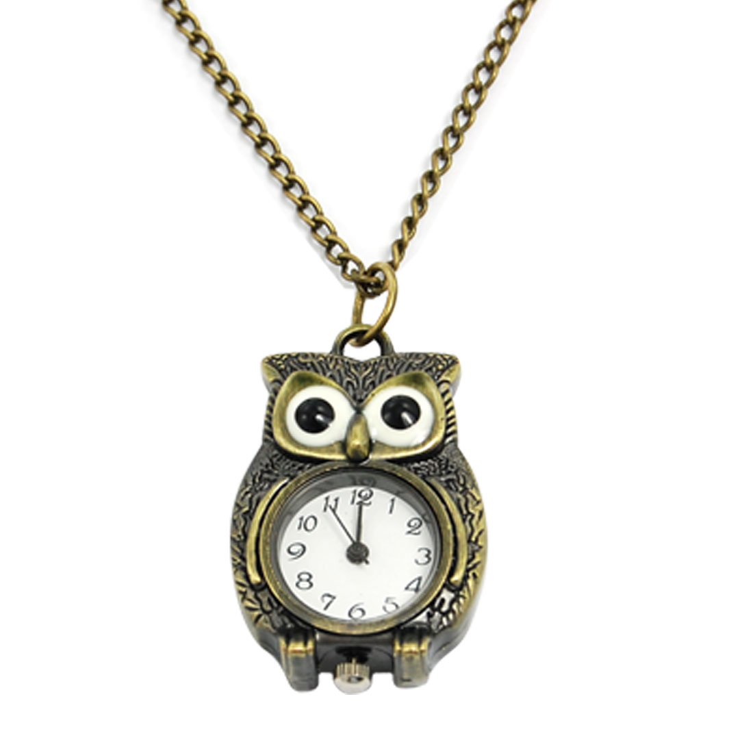 Ladies Bronze Tone Owl Shaped Pendant Necklace Watch