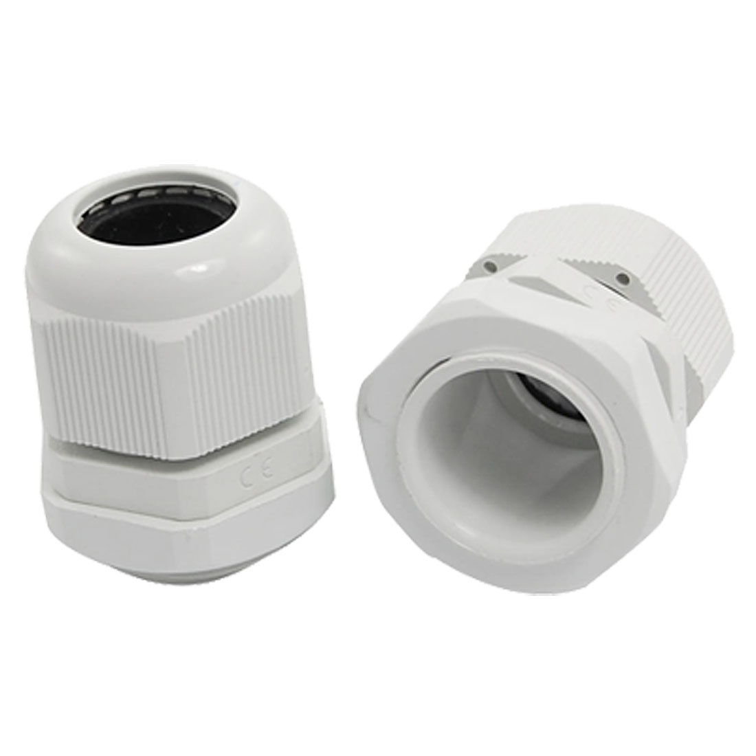PG16 White Plastic Waterproof Cable Glands Joints 2 Pcs